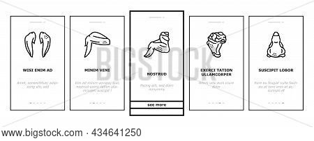 Chicken Animal Farm Raw Meat Food Onboarding Mobile App Page Screen Vector. Chicken Leg Quarter And