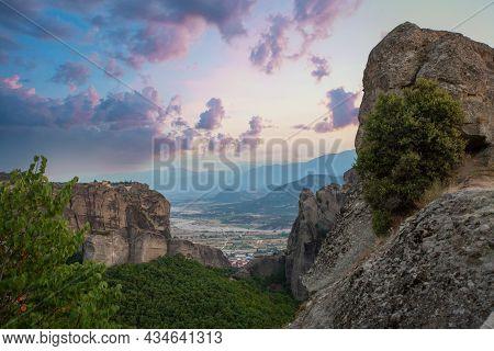 Perfect Sky Clouds And View Of Meteora, Kalabaka Greece