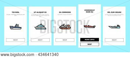 Boat Water Transportation Types Onboarding Mobile App Page Screen Vector. Runabout And Catamaran, Fi