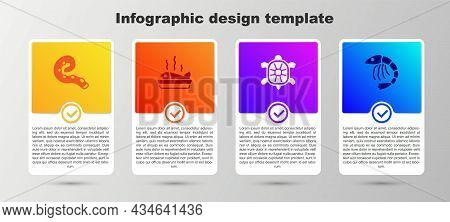 Set Octopus Of Tentacle, Served Fish On Plate, Turtle And Shrimp. Business Infographic Template. Vec