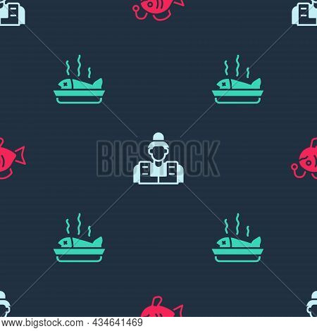 Set Tropical Fish, Fisherman And Served On Plate On Seamless Pattern. Vector