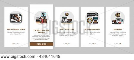 Quarry Mining Industrial Process Onboarding Mobile App Page Screen Vector. Quarry Mining Equipment A