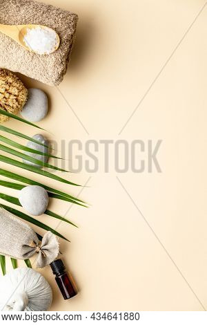 Spa setting on color background, flat lay, copyspace