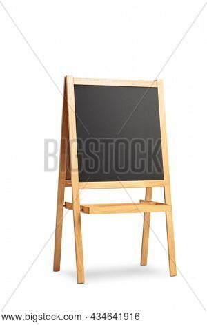 Studio shot of a small blackboard with a wooden frame on a stand isolated on white background
