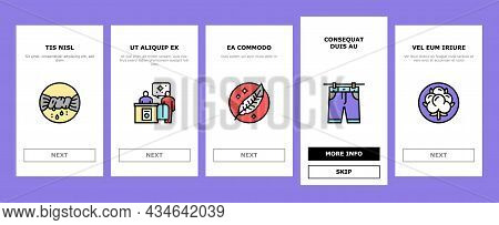 Laundry Service Washing Clothes Onboarding Mobile App Page Screen Vector. Laundry And Drying Machine