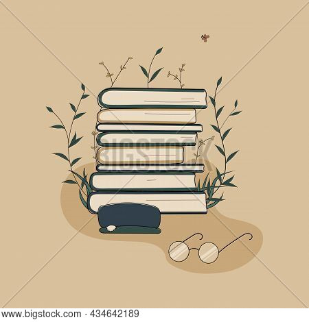 Concept:book Is Source Of Knowledge.glasses With A Case Stack Of Books And Reading Book.pile Of Volu