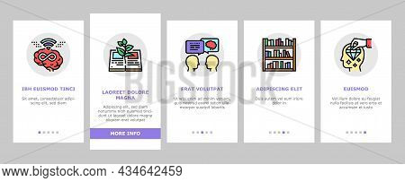 Knowledge And Mind Intelligence Onboarding Mobile App Page Screen Vector. World Knowledge And Univer