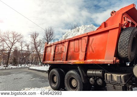 Tractor Loader Machine Uploading Dirty Snow Into Dump Truck. Cleaning City Street, Removing Snow And