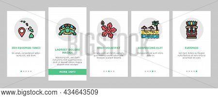 Hawaii Island Vacation Resort Onboarding Mobile App Page Screen Vector. Hawaiian Girl Dancing Dance