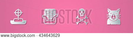 Set Paper Cut Tombstone With Cross, Chocolate Bar, Skull Crossbones And Cat Icon. Paper Art Style. V