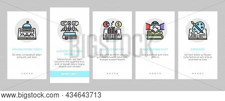 History Learn Educational Lesson Onboarding Mobile App Page Screen Vector. Environmental And Art, Po