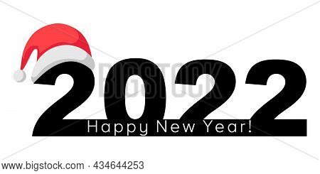 Happy New Year 2022 Banner With Santa Claus Hat For Brochure Design Template, Postcard, Banner