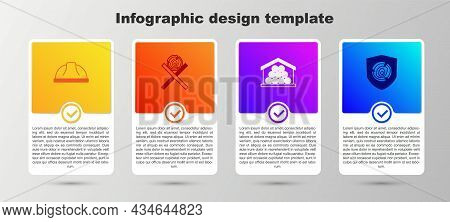 Set Worker Safety Helmet, Wooden Logs On Stand, And . Business Infographic Template. Vector