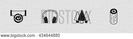 Set Two-handed Saw And Log, Headphones, Christmas Tree And Wooden Logs Icon. Vector