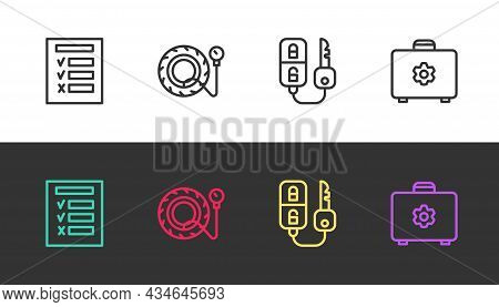 Set Line Car Inspection, Tire Pressure Gauge, Key With Remote And Toolbox On Black And White. Vector