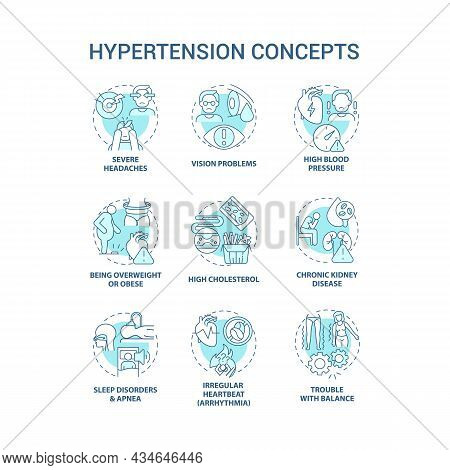 Hypertension Concept Icons Set. High Blood Pressure Condition Idea Thin Line Color Illustrations. Se