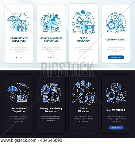 Bank Regulation Onboarding Mobile App Page Screen. Csr Monitoring Walkthrough 4 Steps Graphic Instru