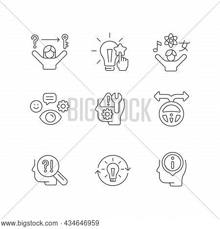 Self Development Skills Linear Icons Set. Self Monitoring. Critical Thinking Skills And Abilities. C
