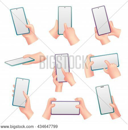Collection Of Cartoon Hands With Phone. Humans Holding Phones With Empty Screen. Mock Up Of Social N