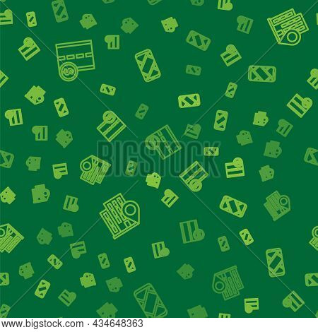 Set Line Toll Road Traffic Sign, Location With House And City Map Navigation On Seamless Pattern. Ve