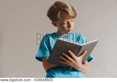 Portrait of a pensive casual preteen boy in t-shirt standing over isolated gray wall background holding book noting