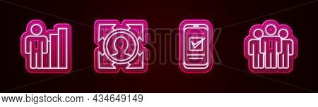 Set Line Productive Human, Head Hunting, Smartphone And Users Group. Glowing Neon Icon. Vector