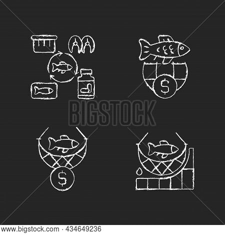 Fish Product Producing And Trade Chalk White Icons Set On Dark Background. Commercial Fishing. Produ