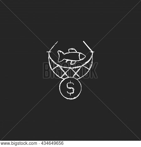 Commercial Fishing Chalk White Icon On Dark Background. Catching Seafood For Trade. Aquaculture Harv