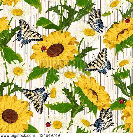 Sunflowers And Butterflies On A Wooden Background.sunflowers, Daisies And Butterflies On A Wooden Ba