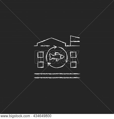 Fish Processing Plant Chalk White Icon On Dark Background. Commercial Seafood Products Preparation A