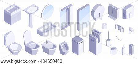 Bathroom Furniture Sanitary Accessories Sink Urinal Toilet Bowl Brush Watercloset Mirror Isometric S