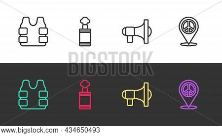 Set Line Bulletproof Vest, Hand Grenade, Megaphone And Location Peace On Black And White. Vector