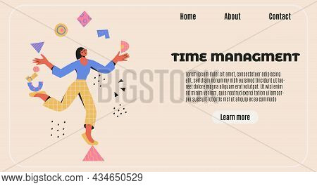 Time Management Banner. Multitasking, Productivity, Skillful Concept. Woman Balances On A Triangle A