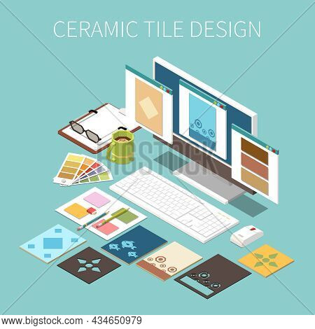 Ceramic Tile Design Background With Different Types And Colors Of Tiles On Pc Screen Isometric Vecto