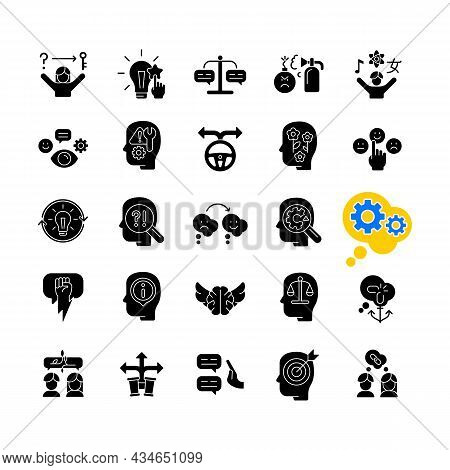 Critical Thinking Black Glyph Icons Set On White Space. Intellectual And Logical Skills. Evaluation
