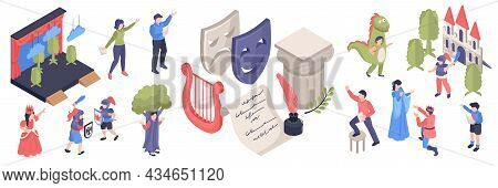 Isometric Acting School Color Set With Adults And Children Having Drama Classes Stage Props Harp Mas