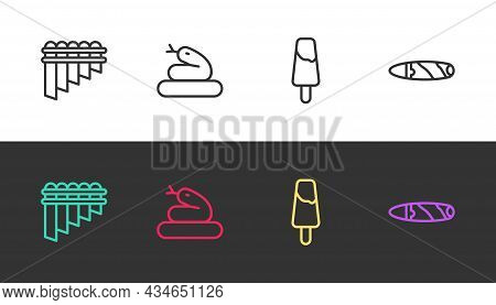Set Line Pan Flute, Snake, Popsicle Ice Cream And Cigar On Black And White. Vector