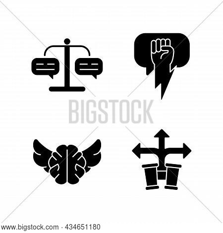 Argumentation Skills Black Glyph Icons Set On White Space. Forming Judgement. Use Solid And Strong A
