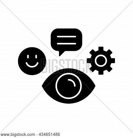 Observation Skills Black Glyph Icon. Ability To Analyze And Predict Problems. Attention To Details.