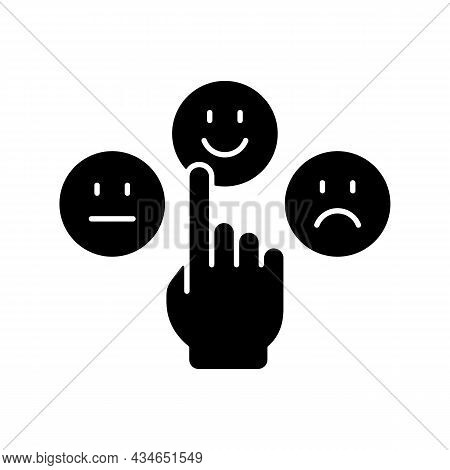 Emotional Maturity Black Glyph Icon. Ability To Control And Manage Emotions. Confidence And Responsi