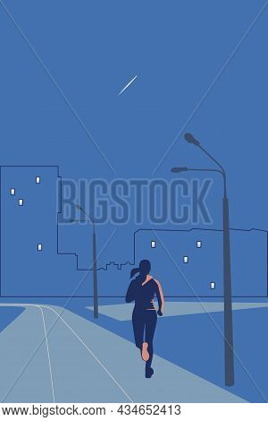 A Woman Runs Through The Stadium In The Evening. There Is A Trace Of An Airplane In The Sky. Vector