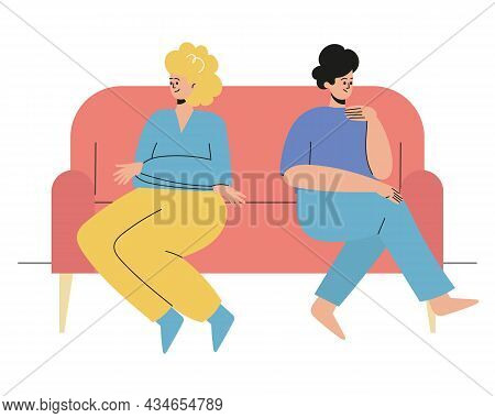 A Man And A Woman Are Sitting With Their Backs To Each Other.the Couple Quarreled, Offended, Insulte