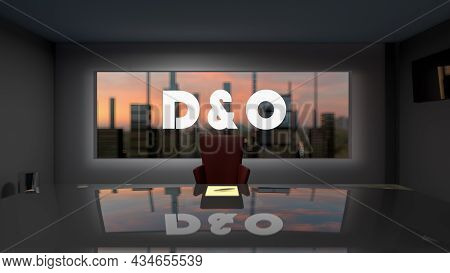 D And O. Directors And Officers Liability Insurance Concept. Directors Office With A Large Table And