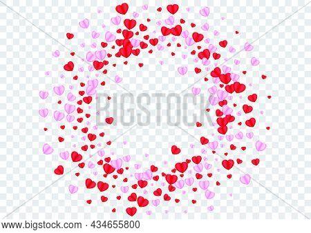 Pink Heart Background Transparent Vector. Rain Texture Confetti. Red Wedding Pattern. Violet Heart M
