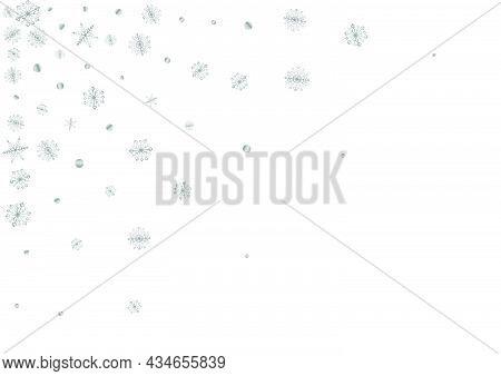 Grey Confetti Background White Vector. Snowflake Flake Card. Luminous Flake Decoration. Silver Snowf