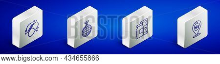 Set Isometric Line Medicine Pill Or Tablet, Disco Ball, Pills Blister Pack And Nursing Home Icon. Ve