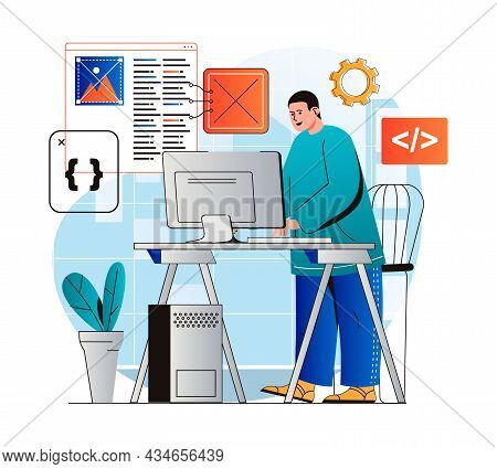 Programming Working Concept In Modern Flat Design. Developer Programs In Different Languages, Create