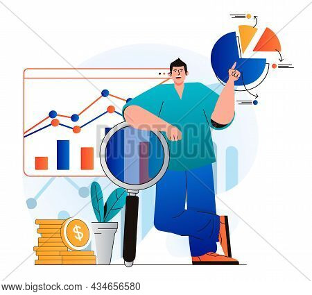Sales Performance Concept In Modern Flat Design. Marketer Researches Financial Statistics And Analys