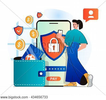 Secure Payment Concept In Modern Flat Design. Woman Logs Into Financial Account Using Password. Cust