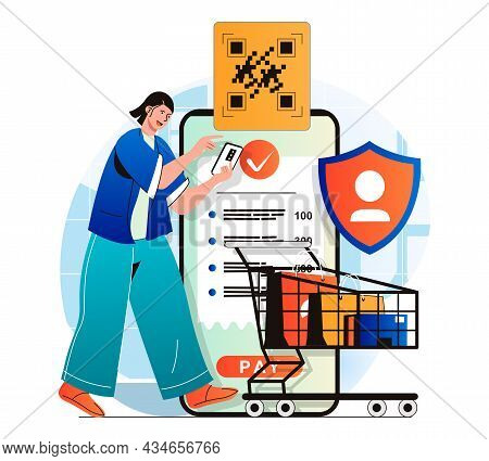 Secure Payment Concept In Modern Flat Design. Woman Pays For Her Purchases Using Bank Transfer Confi